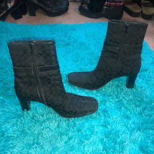 Coach Monogram Black Booties